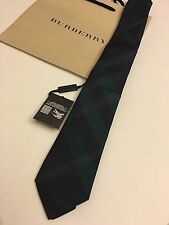 NWT Burberry Men's SILK NECK TIE In Carbon Navy Blue & Green Plaids + Receipt