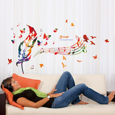 Waterproof Music Feather Note Wall Stickers Decals Livingroom Home Decor