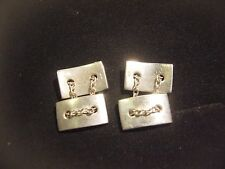 FANTASTIC SOLID SILVER CUFF LINKS-UNUSUAL SOLID BLOCKS AND CHAINS FINEST QUALITY