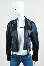John Galliano Black Satin Long Sleeve Ribbon Cropped Jacket SZ 10
