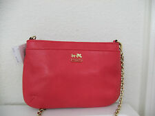 Coach 48515 Madison Leather Zip Crossbody Bag in Punch Pink NWT