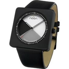 NEW Noon Copenhague Black IP Steel Case Black Leather Band Mens Watch19-002