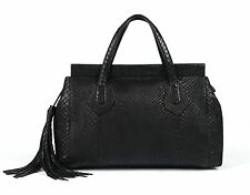 "GUCCI ""LADY TASSEL"" BLACK PYTHON MEDIUM TOP HANDLE TOTE HANDBAG"