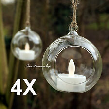 4 X CLEAR HANGING GLASS BAUBLES BALL CANDLE TEALIGHT HOLDER WEDDING DECOR 8cm