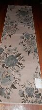 MOHAWK  ** Scatter RUG RUNNER  Classic Floral Shell 2'X7'  Blue Seafoam Roses **