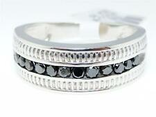 .51 Ct Mens White Gold Finish Black Diamond 8MM Wedding Engagement Band Ring