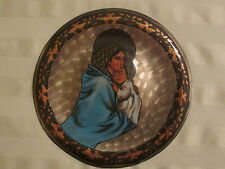 Vintage Egyptian Brass PLATE ~ Madonna and Child ~Handmade~ Brass/copper~Unique