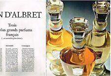 PUBLICITE  1969  JEAN D'ALBRET (2 pages)   3 DES PLUS GRANDS PARFUMS FRANCAIS