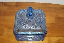 TIARA ~ICE BLUE~ GLASS FOOTED HONEY BEE CANDY BOX DISH