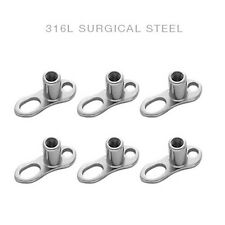 6 pc. 316L Surgical Steel Dermal Anchor Base - ANCHORB-1