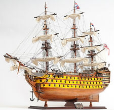 "HMS Victory Admiral Nelson Tall Ship 37"" Built Wooden Model Painted Assembled"