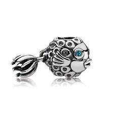 JS353 Green eye Fish Silver charms bead Fit European Bracelet/Necklace Chain