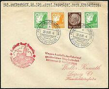 328/Zeppelin Dt. Reich 1939 Fahrt nach Königsberg Brief Ausfallstempel Si 464