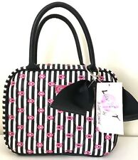 Luv Betsey Johnson Weekender Cosmetic Make up Bag Pink Lips Stripes Case NWT