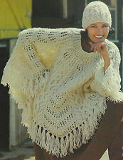 Ladies Poncho & Hat Knitting Pattern Chunky Beautiful cable design Retro 607