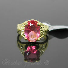 LARGE CANDY PINK CZ STONE YELLOW GOLD PLATED WOMENS RING SIZE 7.5 O MEDIUM