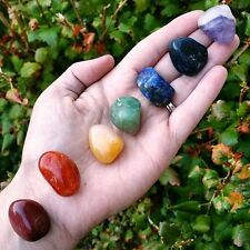 CHAKRA HEALING 7 STONE Tumbled Crystal Set (S2) with Instruction Booklet & Pouch