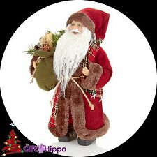 Christmas Decoration - Traditional Tartan Standing Santa - 30cm