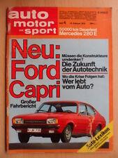 AUTO MOTOR UND SPORT 16.2. - 4/1974 Ford Capri BMW 525 GP Brasilien Fittipaldi