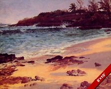 A BEACH COVE IN THE BAHAMAS AT EVENING, DUSK PAINTING ART REAL CANVAS PRINT