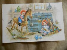Old Vintage 1983 Postcard Raggedy Ann & Andy Toy Chest Rocking Horse Lamp Tea