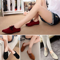 Womens Nubuck Leather Flat Pumps Ladies Lace Up Loafers Casual Shoes Size 3-6.5