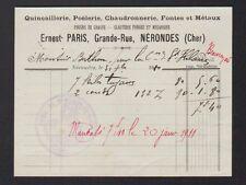 """NERONDES (18) QUINCAILLERIE / POELERIE / CHAUDRONNERIE """"Ernest PARIS""""  en 1911"""