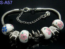 NEW handmade European style porcelain charms beaded bracelet lobster clasp LSA57