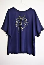 JACQUES VERT NAUTICAL TOP TUNIC NAVY GOLD 80s EMBROIDERY CHIC RETRO 16 18 L