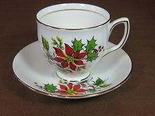 Duchess Bone China Christmas Cup and Saucer Poinsettia and Holly Gold Trim