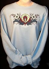 Norwegian Rosemaling Rosemaled Hallingdal Women's Sweat Shirt XL Light Blue