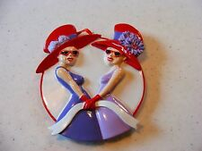 Red Hat Ladies Christmas Personalizable Ornament 2 Friends