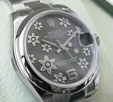 Rolex DATEJUST 178240 Midsize 31MM Stainless Steel Rhodium Flower Motif Dial