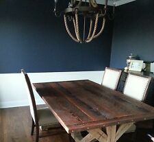 country rustic reclaimed barn wood trestle table