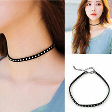 Best Gift Women Punk Rivet Studded Leather Choker Chunky Necklace Bracelet Black