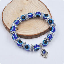 Hamsa Fatima Hand Evil Eye Bracelet Handmade Beads Elastic Band Fashion Jewelery