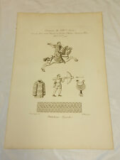 1806 French Antique Print/HUNTING CLOTHING OF THE 14TH CENTURY