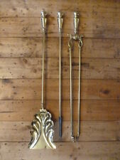 Antique Brass Companion Set Fire Irons - Poker, Shovel, Tongue
