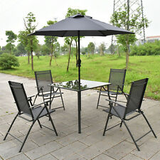 6PCS Patio Garden Set furniture 4 Folding Chairs Table with Umbrella Gray New