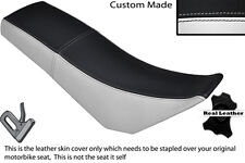BLACK & WHITE CUSTOM FITS DERBI SENDA BAJA 125 DUAL LEATHER SEAT COVER