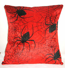 "NEW PLUSH RED SCARY SPIDERS HALLOWEEN  CUSHION COVER 16""X16"""