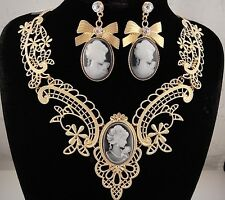 necklace set 18k gold p metal lace antique black cameo bow vintage style FIOJ