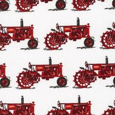 1 Half Metre length Tractor Time Print Fabric - 100% cotton - 16021-3 red