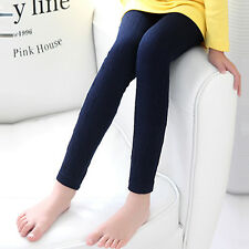 Soft Cotton Girls Full Length Leggings Kids Plain Cable Knitted Pants Trousers