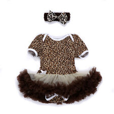 Newborn Baby Girl Headband+Romper Dress Sets Clothes Outfit 3-6M Leopard Gift