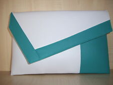 OVER SIZED TURQUOISE & WHITE faux leather  clutch bag BN fully lined