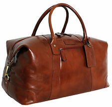 Leather Large Travel Luggage Weekend Overnight Holdall bag - Chestnut