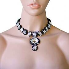 Clear Glass & Rhinestones Gunmetal Finish Statement Necklace, Pageant,Drag Queen