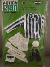 ACTION MAN  40th - BLUE & WHITE STRIPE JERSEY FOOTBALLER CARD SPORTSMAN Carded