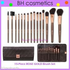 NEW BH Cosmetics 15-Piece ROSE GOLD Brush Set w/Case FREE SHIPPING Face Makeup